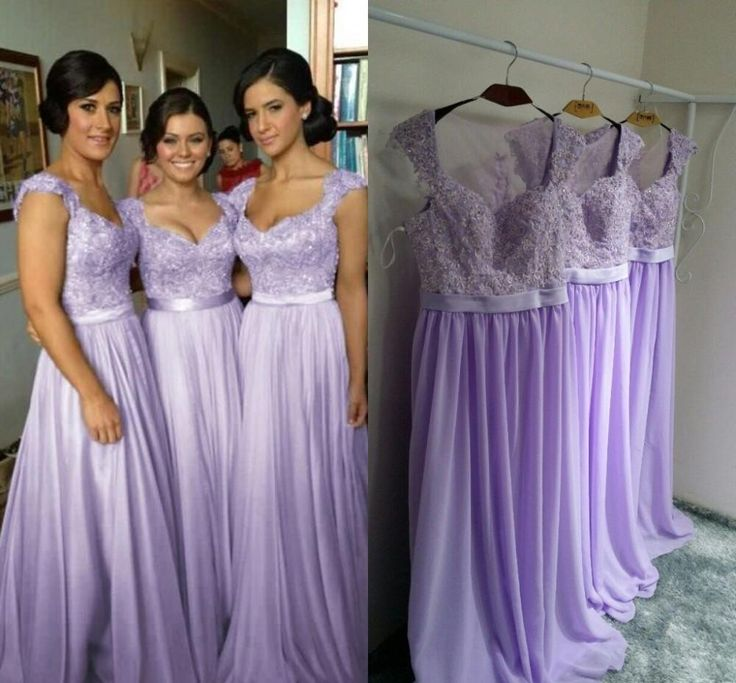 Lavender Long Bridesmaid Dresses, Chiffon Bridesmaid Dress, Cheap ...