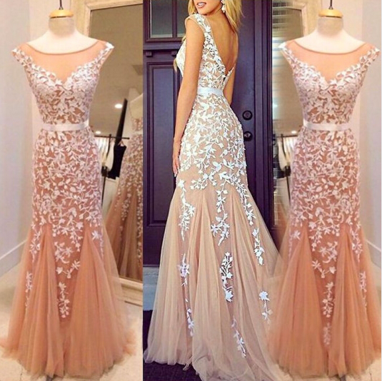 Dusty Pink Lace Mermaid Evening Dress, Formal Party Dress, Tulle Evening Dresses, Cheap Formal Dresses, Elegant Evening Gowns, Women Evening Dress