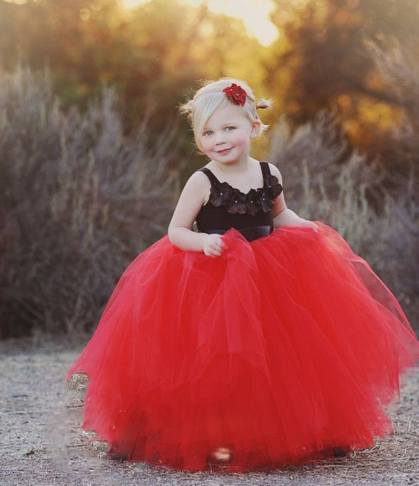 Red And Black Flower Girls Dress, Ball Gown Little Flower Girls ...