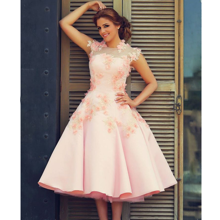 Said Mhamad Prom Dresses, High Neck Evening Dresses, Pink Special ...