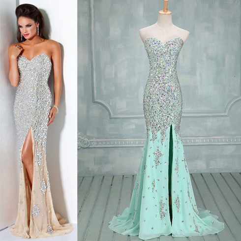 Real Photo Sparkly Long Evening Dress Luxury Evening Dresses With