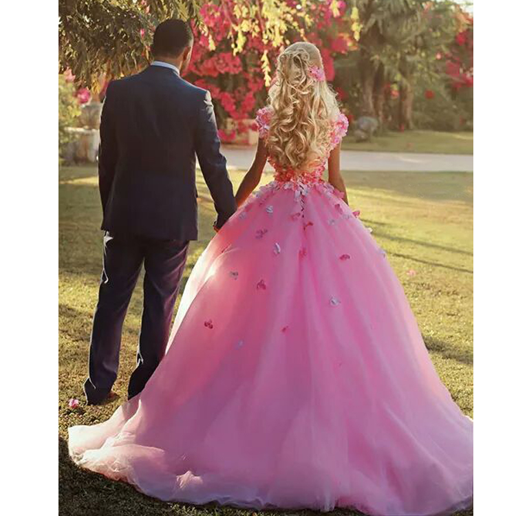 Flower Prom Dresses, Pink Prom Gowns, 3D Flowers Evening Dresses, V ...