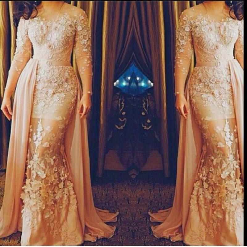 Long Sleeve Evening Dresses, Hand Made Flowers Prom Dresses, Champagne Evening Gowns, Detachable Skirt Prom Gowns, Mermaid Formal Dresses, Sheer Party Dresses, Vestidos de Festa 2016