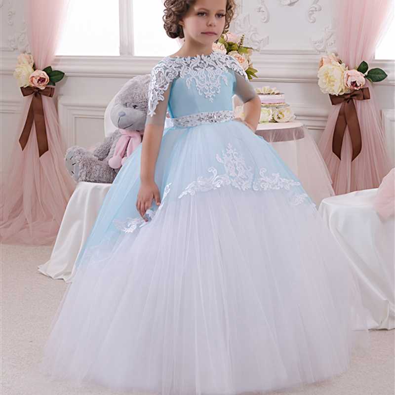 Ball Gown Little Flower Girls Dresses, Sheer Crew Little Girls ...