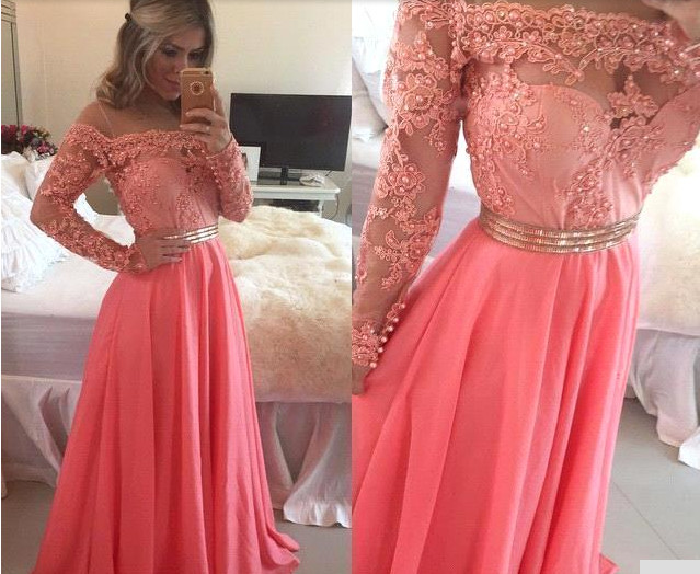 Long Sleeve Coral Prom Dress, Lace Prom Dresses, Coral Colored Prom ...