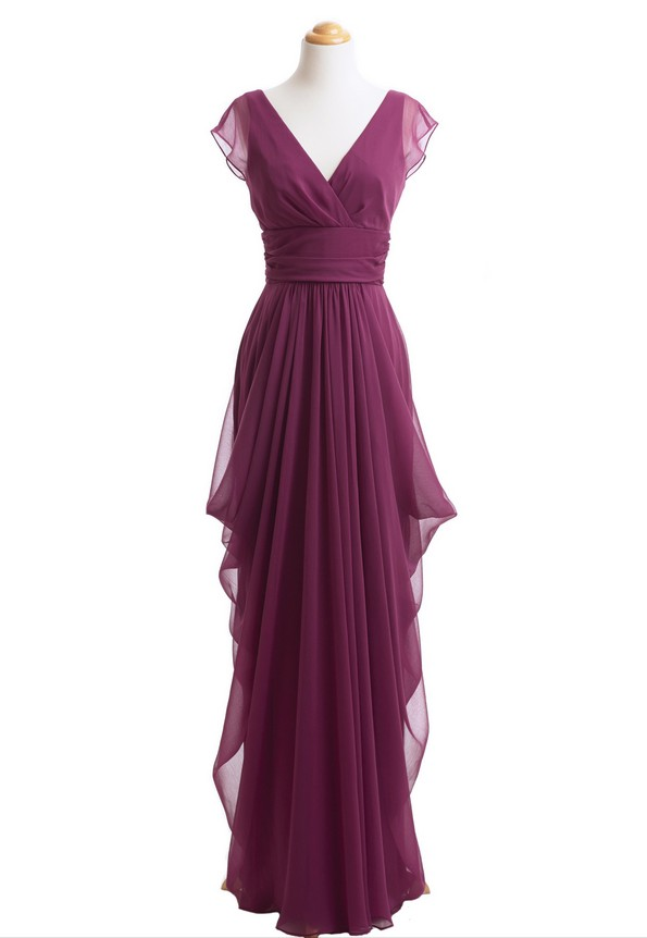 Real Photo Long Bridesmaid Dresses Burgundy Dress Cap Sleeve Chiffon