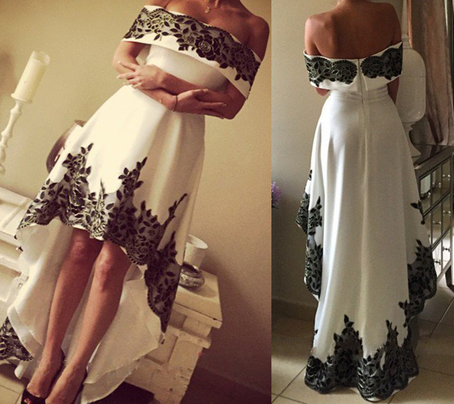 High Low Prom Dress, Lace Prom Dresses, Boat Neck Prom Gown, Prom ...