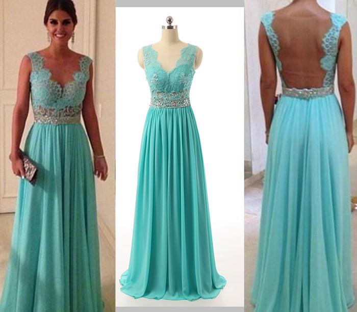Turquoise Blue Prom Dress, Long Prom Dresses, Lace Prom Dress ...