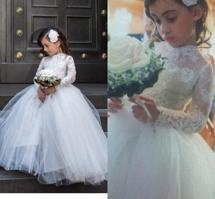 2db0e0186428 Puffy Flower Girl Dress, Long Sleeve Flower Girl Dresses, Tulle Flower Girl  Dress, Flower Girl Dress 2016, Cheap Flower Girl Dress, White Flower Girl  Dress, ...