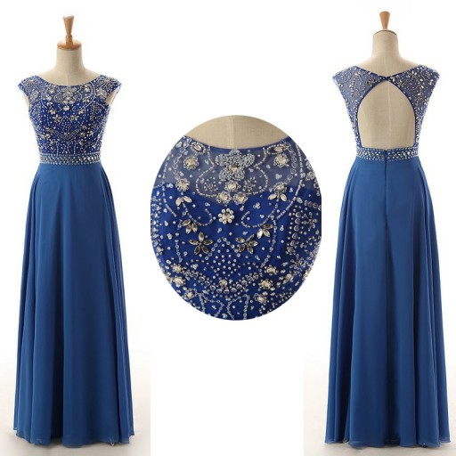 Royal Blue Prom Dresses, Cap Sleeve Prom Dress, Long Prom Dress, Beaded Prom Dress, Affordable Prom Dress, Elegant Prom Dress, Simple Prom Dress, 2016 Prom Dresses, Real Photo Prom Gowns