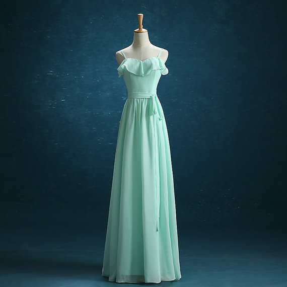 Mint Green Bridesmaid Dress, Chiffon Bridesmaid Dress, Long Bridesmaid Dress, Cheap Bridesmaid Dress, Elegant Bridesmaid Dress, Custom Bridesmaid Dress, Dresses For Weddings, Formal Party Dress