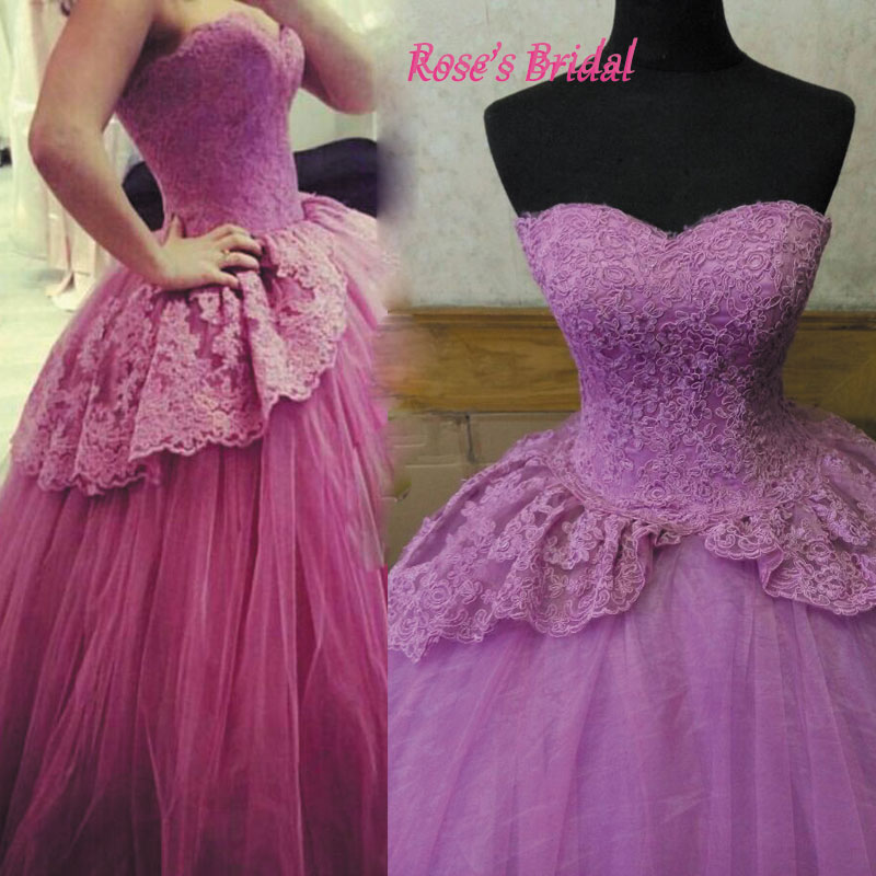 Purple Wedding Dress Ball Gown Lace Puffy Gorgeous 2016 Bridal Sweet 18