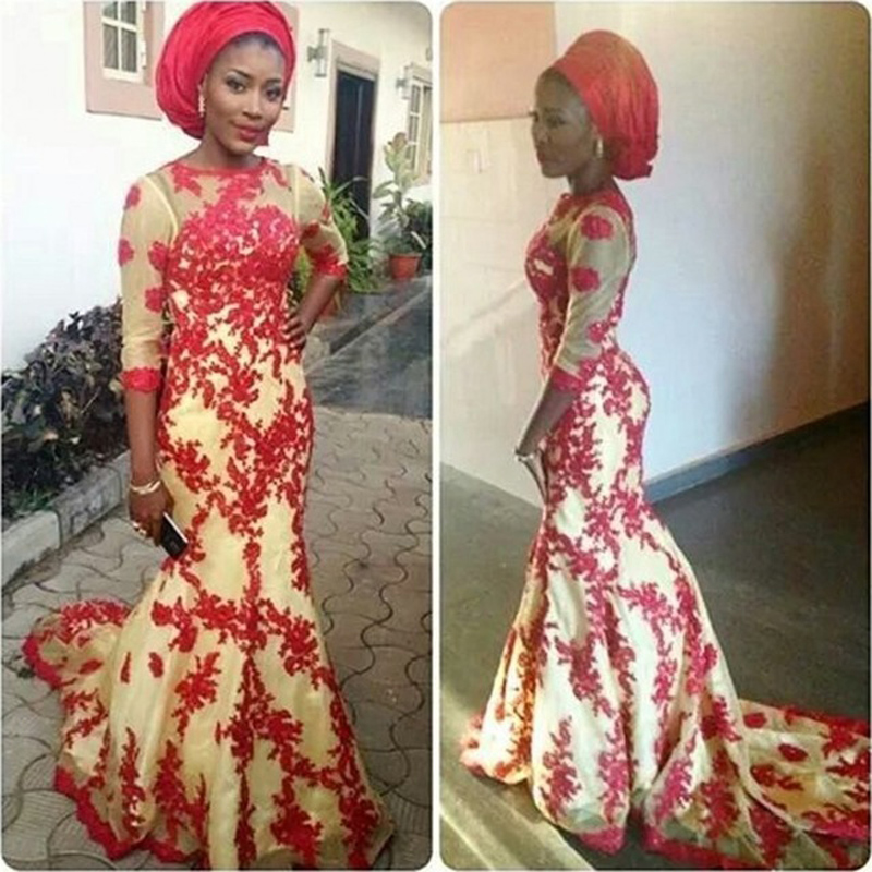 African Evening Dress, Red Lace Evening Dress, Mermaid Evening Dress, Cheap Formal Dress, Long Evening Dress, Long Sleeve Evening Dress, 2016 Evening Dress, Elegant Evening Dress, Champagne Evening Dress