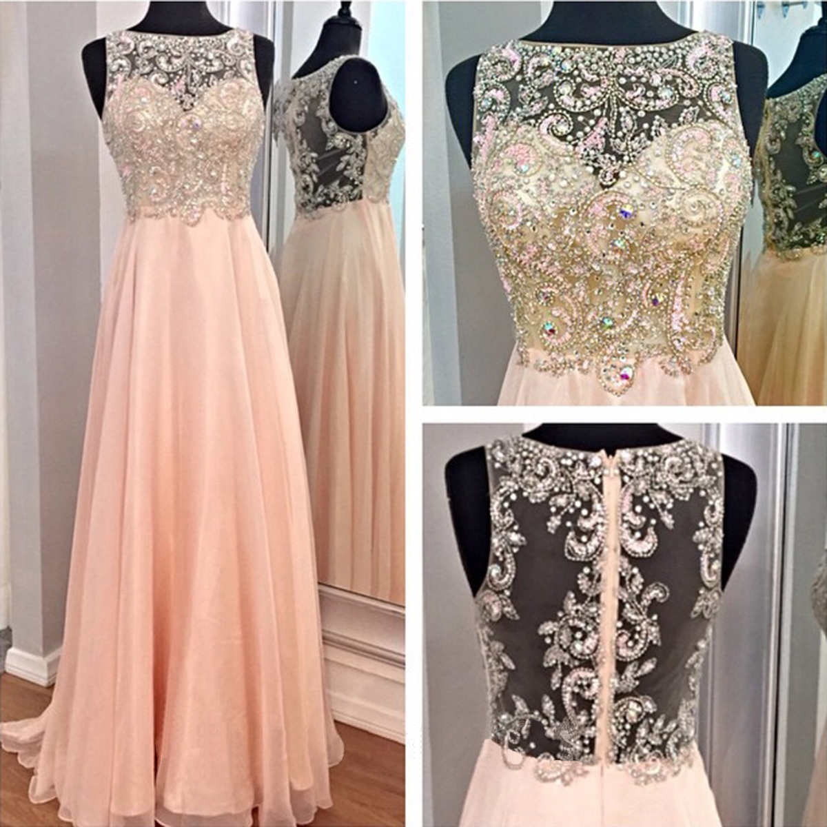 Long Prom Dresses 2015 with Rhinestones