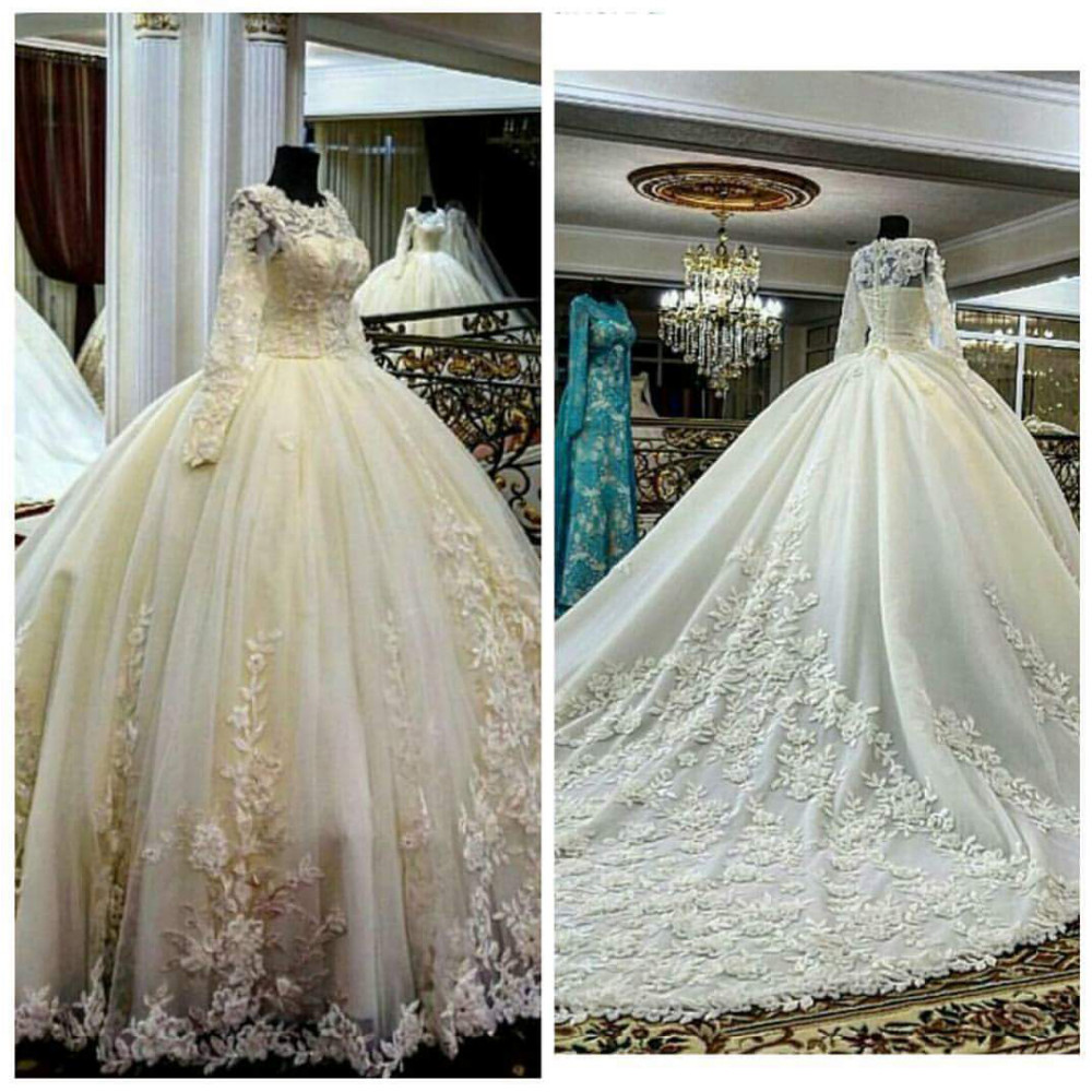 Ivory wedding dress long sleeve wedding dress 2016 for Lace wedding dress with long train