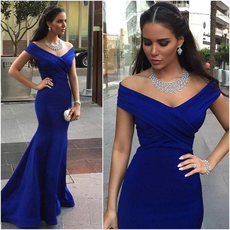 Cap Sleeve Evening Dress, Royal Blue Evening Dress, Mermaid Evening Dress, Elegant Evening Dress, Deep V Neck Evening Dress, Cheap Formal Dress, Long Formal Dress, Satin Evening Dress