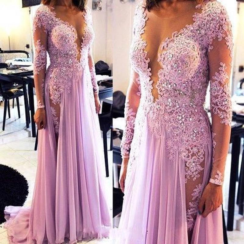 Lavender Prom Dress, Long Sleeve Prom Dress, Lace Prom Dress, Cheap ...