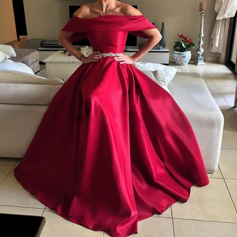 f0380153ec23 Deep Red Prom Dresses, Off the Shoulder Evening Gowns, Satin Formal Dresses,  A Line Evening Dresses, Wine Red Party Dresses, Arabic Special Occasion  Dresses ...