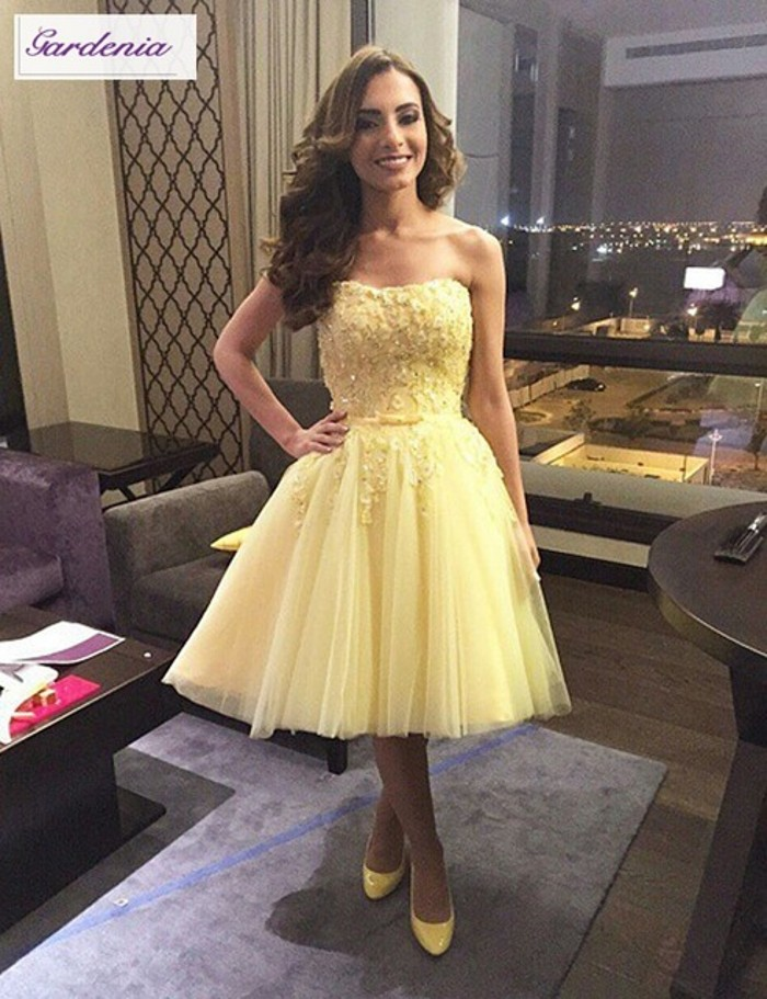 Tulle Homecoming Dress, Pale Yellow Homecoming Dress, Short Homecoming Dress, Lace Applique Homecoming Dress, Cheap Homecoming Dress, Graduation Dresses For Girls, Cocktail Party Dresses