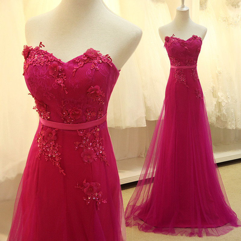 A Line Prom Dress, Tulle Prom Dress, Lace Flowers Prom Dress, Fuchsia Prom Dress, Beaded Prom Dress, Elegant Prom Dresses 2016