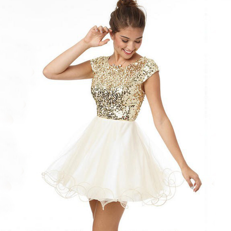 Gold Sequin Homecoming Dress Short Homecoming Dress Sexy