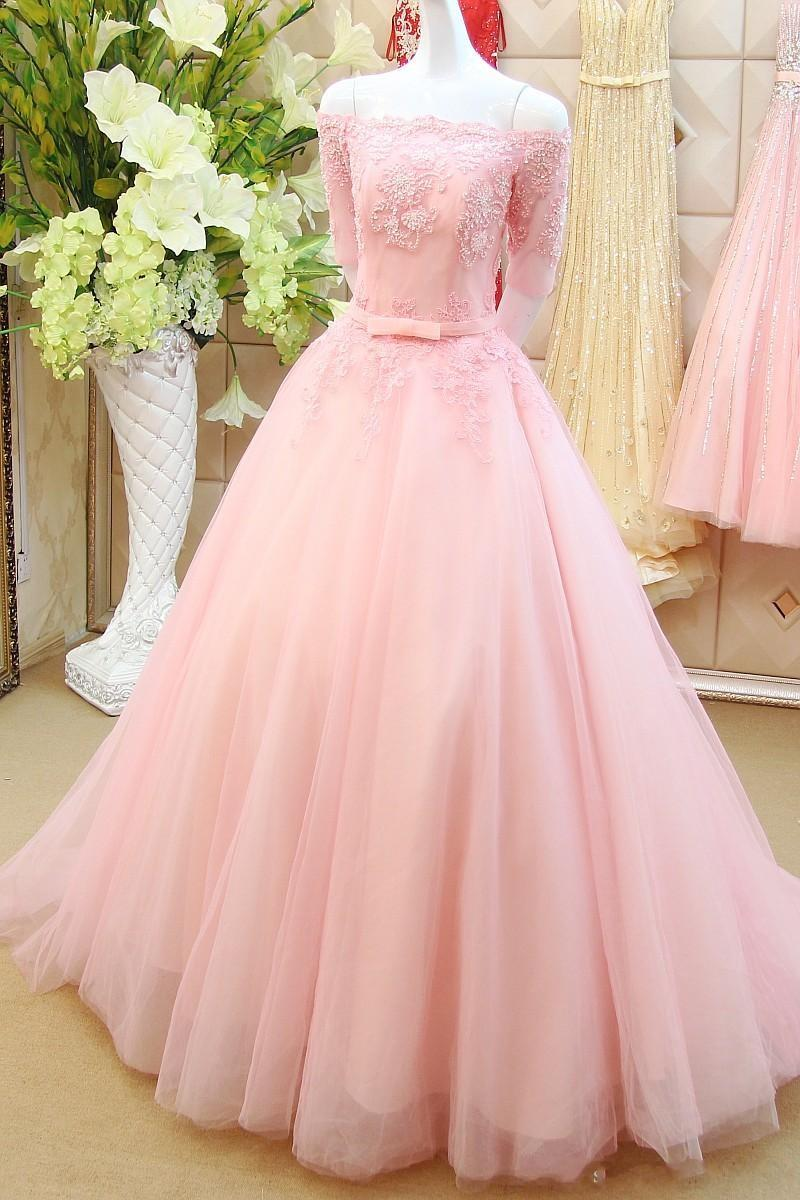 Half Sleeve Prom Dresses Blush Pink Prom Dress Elegant Prom Dress