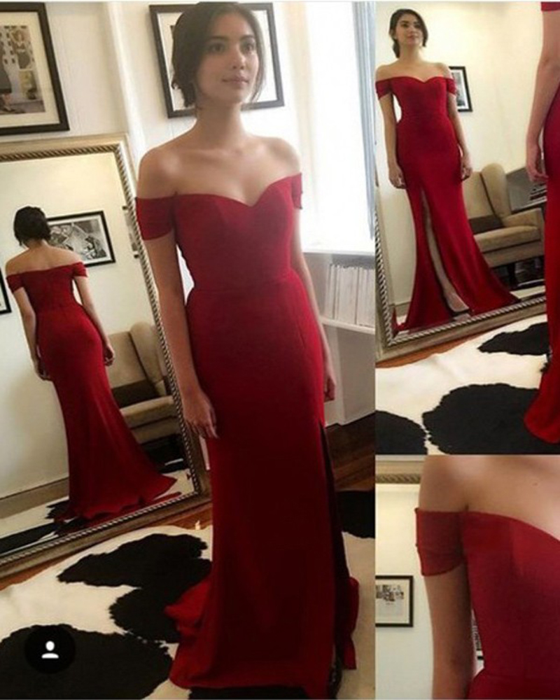 Wine Red Evening Dress, Long Evening Dress, Mermaid Evening Dress, Deep V Neck Formal Dress, Cheap Formal Dress, Long Evening Dress, Prom Dresses Evening, Short Sleeve Evening Dress, 2017 Evening Dresses