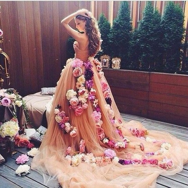 Champagne Prom Dress Puffy Prom Dress Handmade Flowers