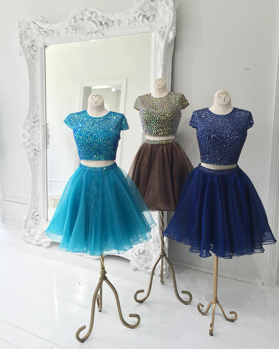 Two Piece Prom Dresses, Short Prom Dresses, Cap Sleeve Prom Dresses ...