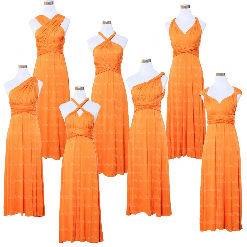 Orange Bridesmaid Dress, Convertible Bridesmaid Dress, Chiffon Bridesmaid Dress, Long Bridesmaid Dress, Elegant Bridesmaid Dress, Formal Party Dress, Bridesmaid Dresses 2017