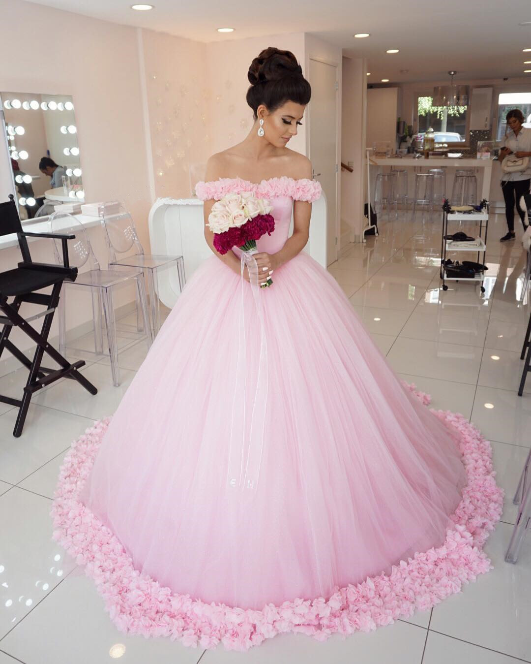 Pink Wedding Dress, Princess Wedding Dress, Elegant