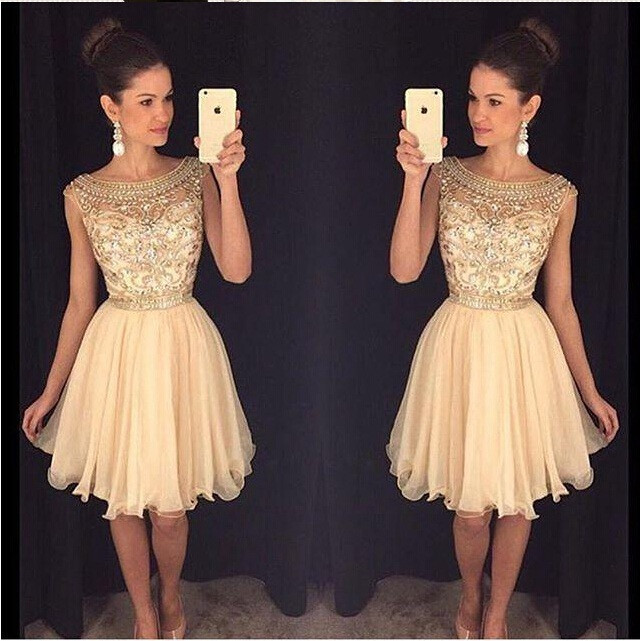 Beaded Homecoming Dress, Short Homecoming Dress, Peach Homecoming Dress, Cheap Homecoming Dress, A Line Homecoming Dress, 2017 Homecoming Dress, Cocktail Party Dresses