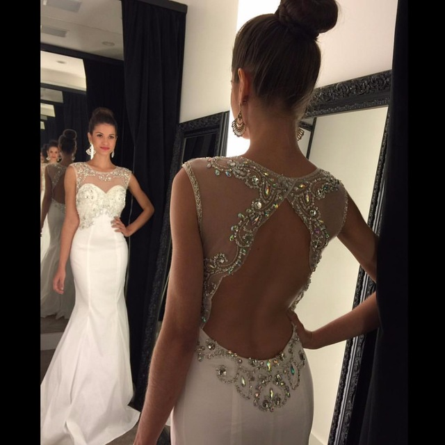 White Prom Dresses with Rhinestones