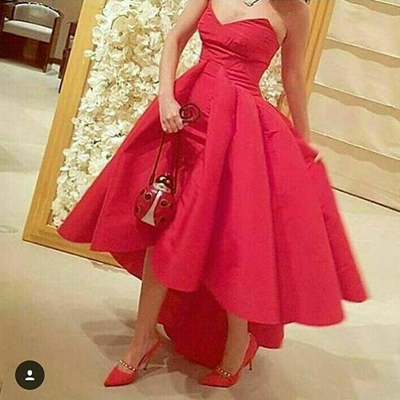 High Low Prom Dresses, Satin Prom Drresses, Red Prom Dresses, Cheap Graduation Dress, Scalloped Prom Dress, A Line Prom Dress, Prom Dresses 2017, Simple Prom Dress, Women Formal Party Dresses