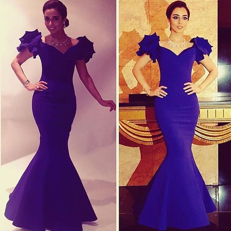 Royal Blue Evening Dress, Long Evening Dress, Mermaid Evening Dress, Satin Evening Dress, Flare Sleeve Evening Dress, V Neck Evening Dress, Elegant Evening Dress, Cheap Evening Dress, Formal Party Dresses, 2017 New Arrival Formal Dresses
