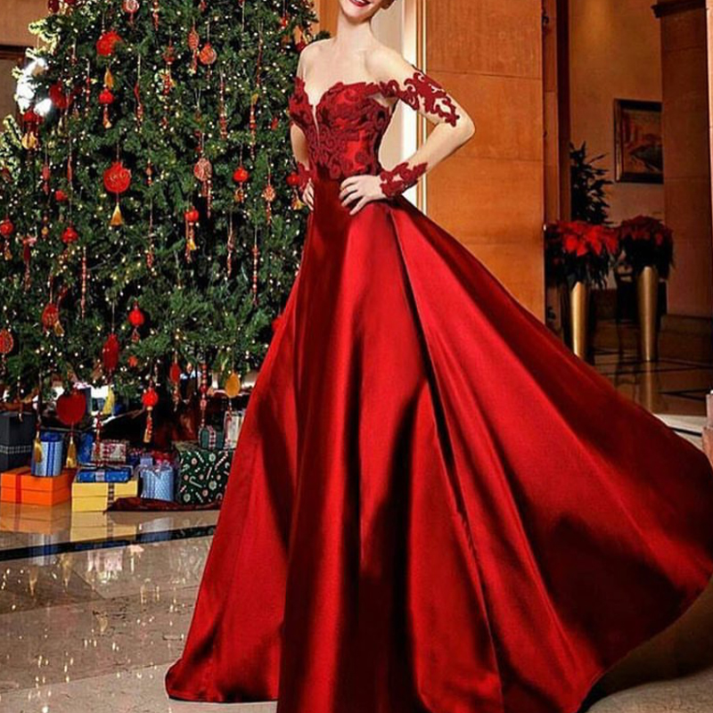 7f73d68324999 Wine Red Prom Dress, Lace Applique Prom Dress, Satin Prom Dress ...