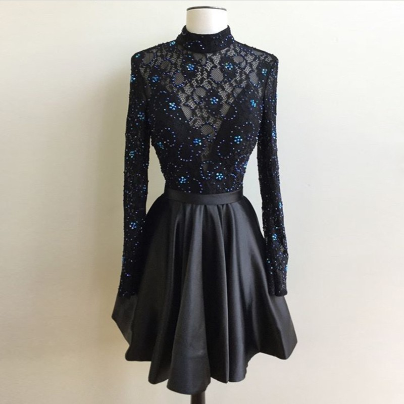 Black Homecoming Dress, Beaded Homecoming Dress, Long Sleeve Homecoming Dress, Short Homecoming Dress, Cocktail Party Dresses, Graduation Dresses 2017, A Line Homecoming Dress, Satin Dress, Homecoming Dresses 2017