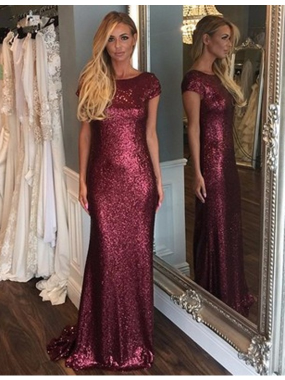 Burgundy Sequin Bridesmaid Dress Cap Sleeve Long Sparkly Elegant