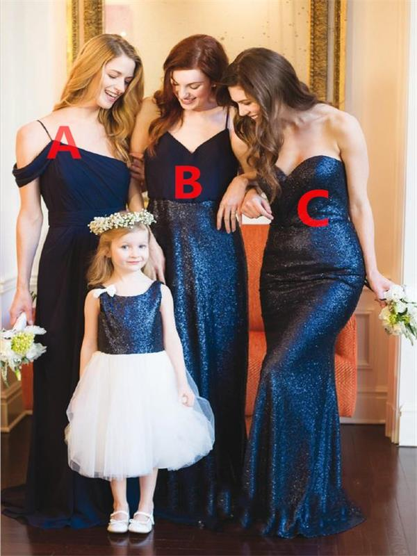 Navy Blue Bridesmaid Dress, Mismatched Bridesmaid Dress, Long Bridesmaid Dresses, Wedding Party Dresses, Cheap Bridesmaid Dress, Custom Bridesmaid Dress, Bridesmaid Dresses 2017, Junior Bridesmaid Dress