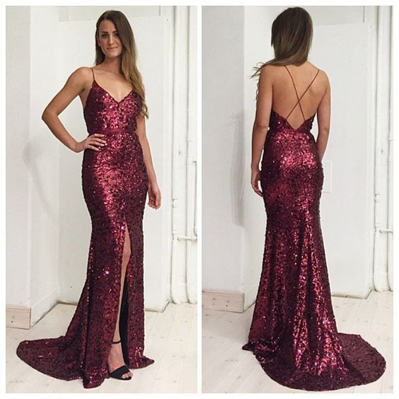 Y Bridesmaid Dress Burgundy Sequin Dresses 2017