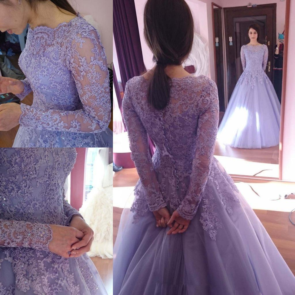 Lavender Prom Dress, Puffy Prom Dress, Long Sleeve Prom Dress, Elegant Prom Dress, Lace Prom Dress, Tulle Prom Dress, Floor Length Prom Dress, Cheap Prom Dress, Prom Dresses 2017, Women Formal Dress, Evening Gowns
