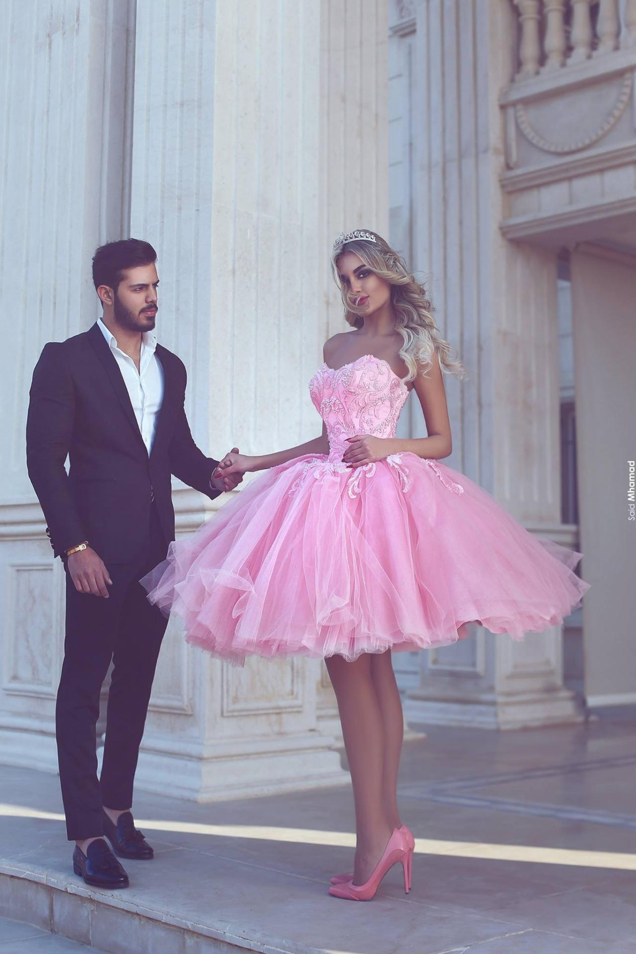 Pink Homecoming Dress, Short Homecoming Dress, Puffy Homecoming ...