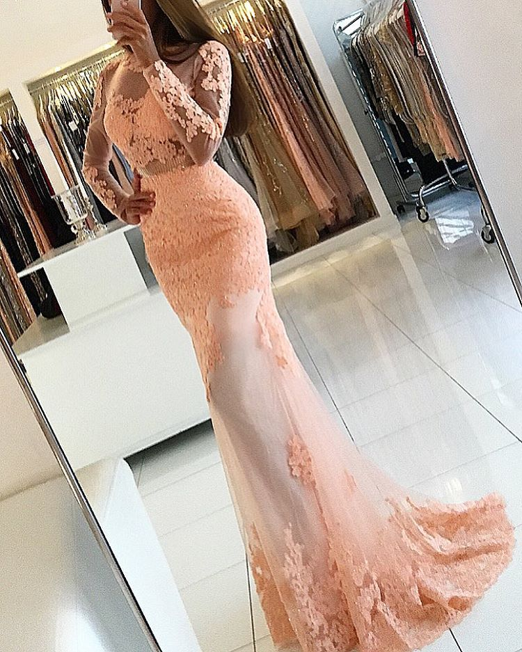 Peach Evening Dress, Sexy Evening Dress, Long Evening Dress, Mermaid Evening Dress, Elegant Evening Dress, Backless Evening Dress, Long Sleeve Evening Dress, Lace Applique Evening Dress, Formal Party Dresses
