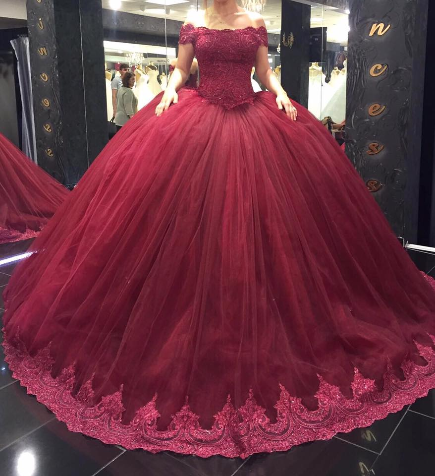 6276a52db4570 Wine Red Wedding Ball Gown, Elegant Wedding Dress, Lace Applique Wedding  Dress, Princess Wedding Dress, Burgundy Wedding Dress, Boat Neck Bridal  Ball Gown, ...