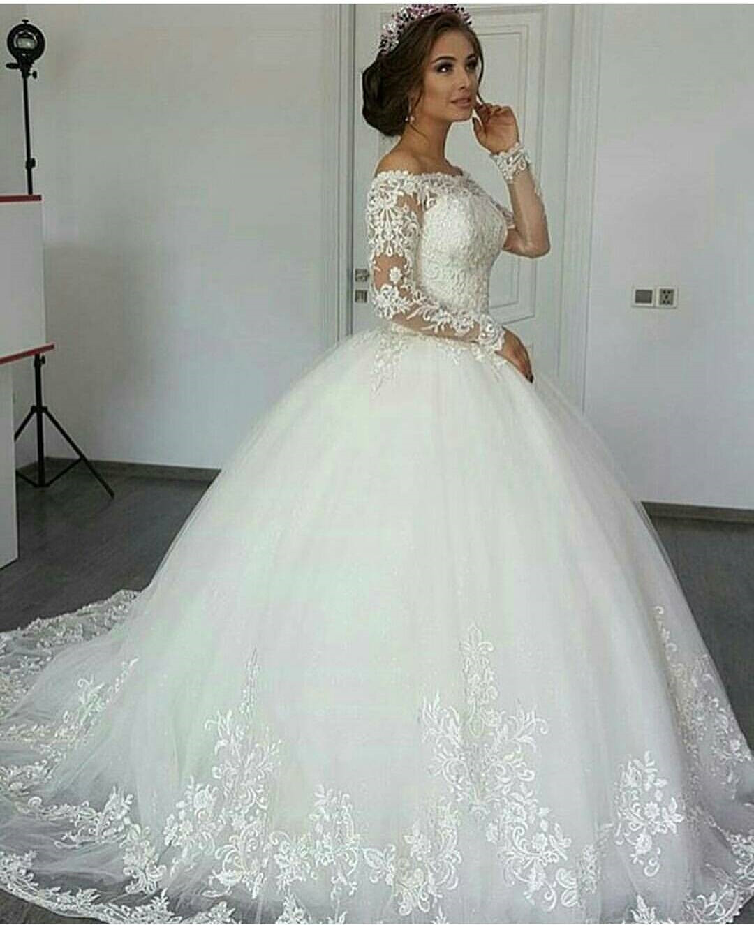 Long sleeve wedding dress ivory wedding dress wedding for Elegant ball gown wedding dresses