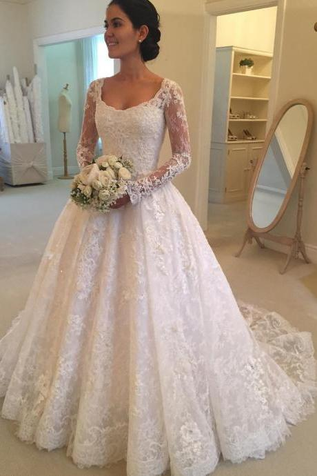 Boat Neck Wedding Dress, A Line Wedding Dress, 2017 New Arrival Wedding Gown, Lace Wedding Dress, Long Sleeve Wedding Dress, Affordable Wedding Dress, Wedding Dresses For Women, Elegant Wedding Dress