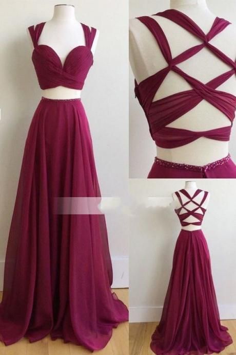 Chiffon Bridesmaid Dress, Fuchsia Bridesmaid Dress, Long Bridesmaid Dress, Cheap Bridesmaid Dress, Sleeveless Bridesmaid Dress, Bridesmaid Dresses 2017, Custom Bridesmaid Dress, Wedding Party Dresses