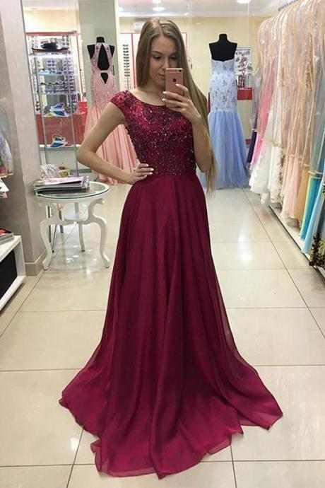 Burgundy Prom Dress, Beaded Prom Dress, A Line Prom Dress, Chiffon Prom Dress, Cap Sleeve Prom Dress, Elegant Prom Dress, Prom Dresses 2017, Modest Prom Dress, Wine Red Prom Dress