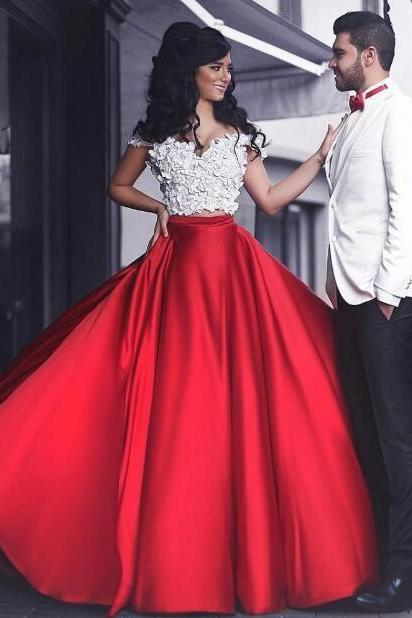 Two Piece Prom Dress, Red Prom Dress, Floral Prom Dress, Vestido De Festa, Floor Length Prom Dress, Satin Prom Dress, Prom Dresses 2018, Cheap Prom Dress, Elegant Prom Dress, Off Shoulder Prom Dress