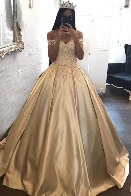 Gold Prom Dress, Off the Shoulder Prom Dress, Puffy Prom Dress, Floral Prom Dress, Prom Dresses 2018, Cap Sleeve Prom Dress, Vestido De Festa, Prom Ball Gown, Elegant Prom Dress